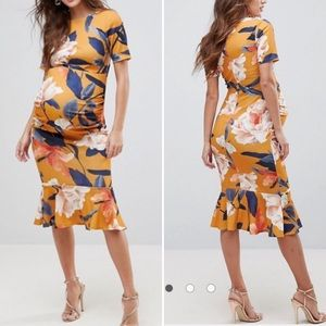 ASOS•Floral Midi Maternity Dress•Size 10